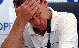 Getting the sums wrong: golfer Mark Roe after being disqualified from 2003's Open Championship